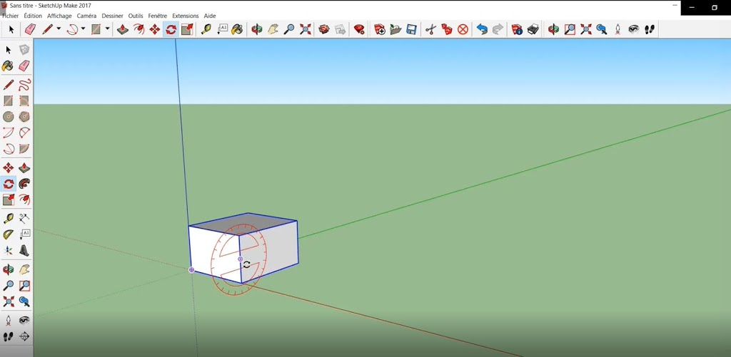 J'effectue une rotation par rapport à l'axe en rouge