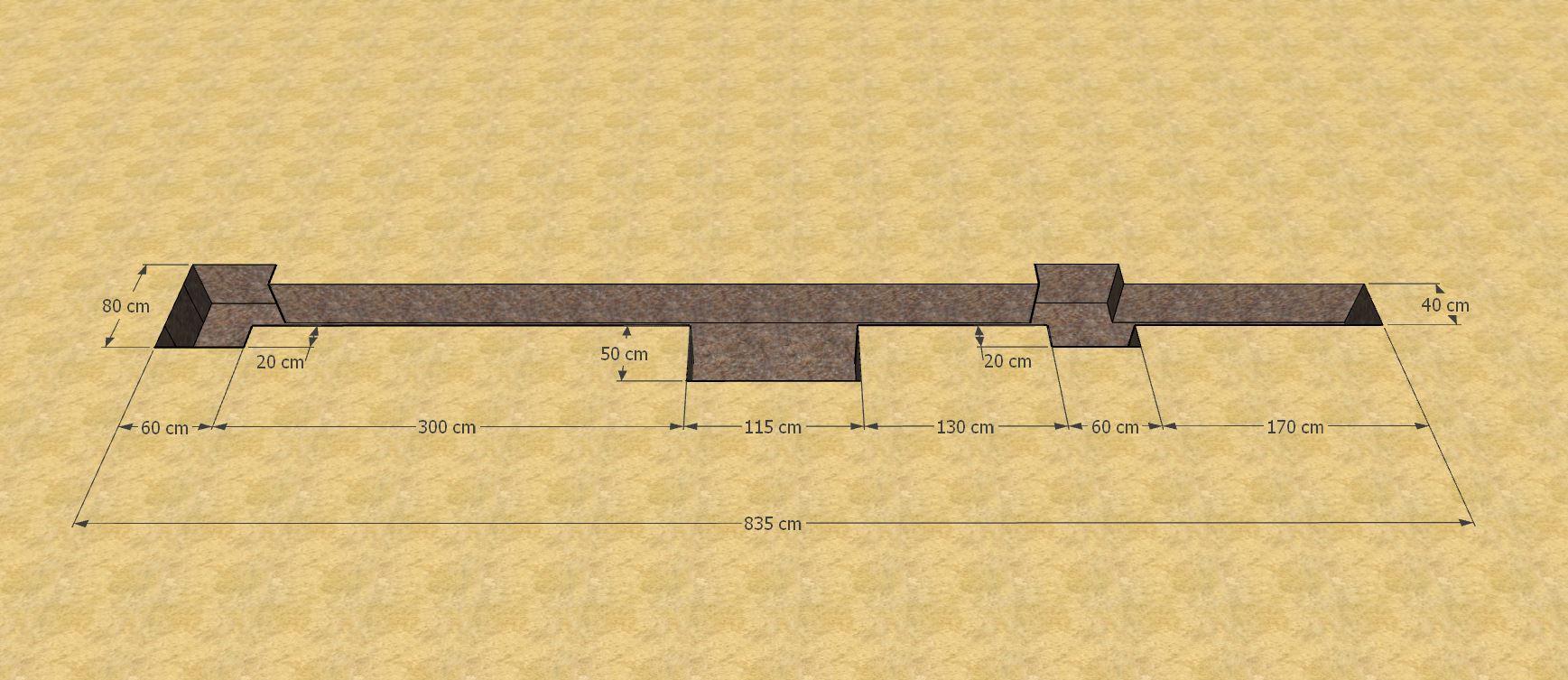 Plan de l'assise du portail coulissant