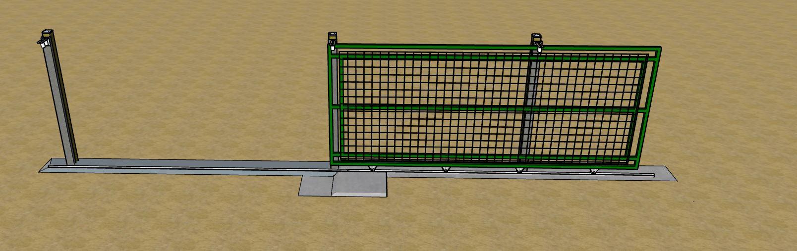 Vue en 3 dimensions du portail coulissant