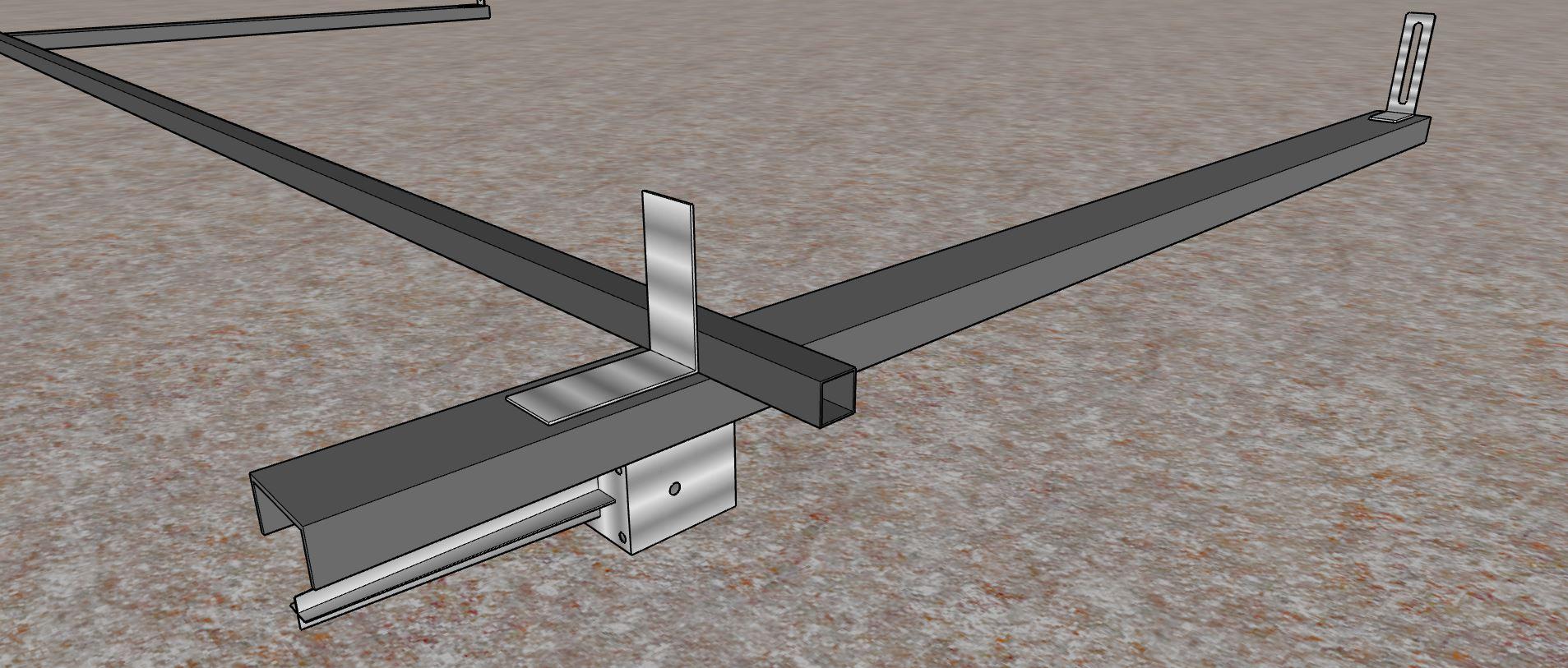 1er tube carré acier sur les équerres