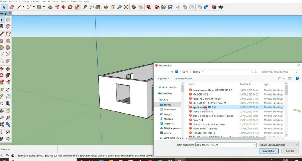 Import du modèle 3D appuis de fenêtre en 140 cm