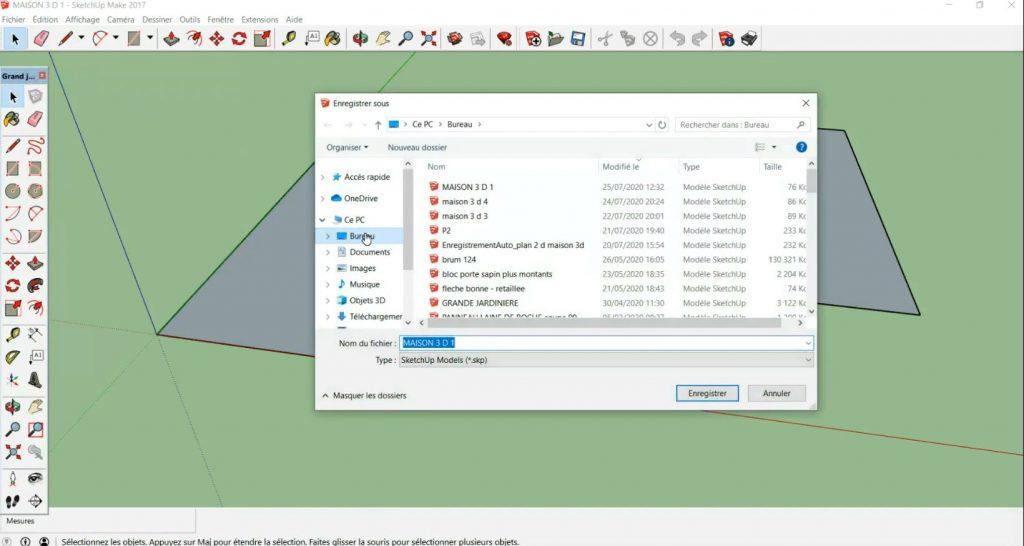 Sauvegarde du fichier sur le bureau Windows
