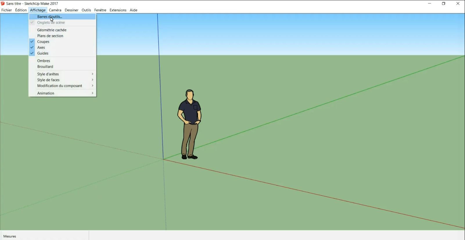 Barre d'outils sketchup