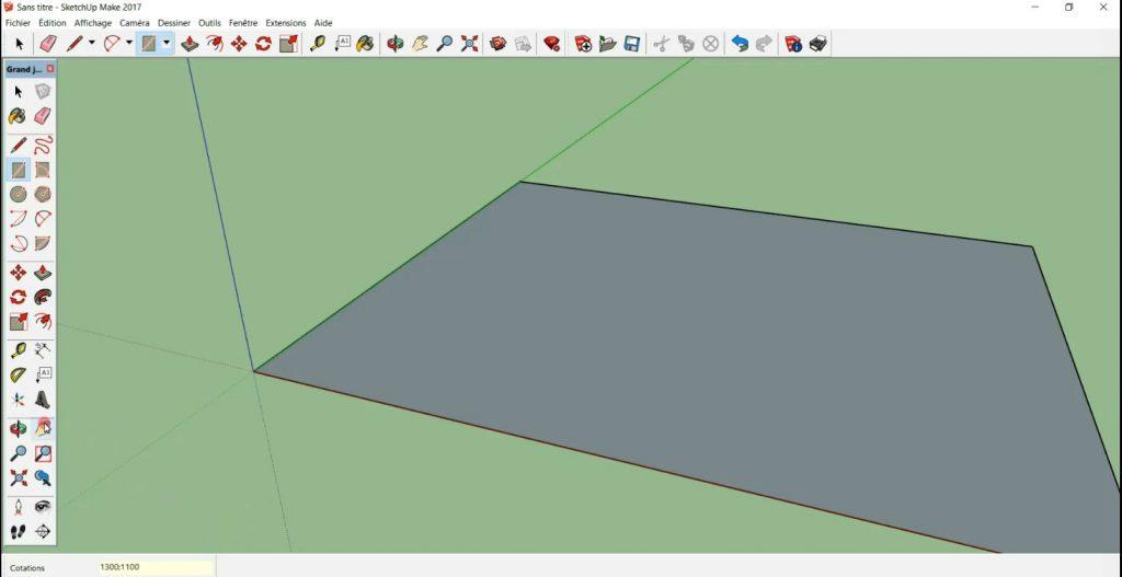 Je créé un rectangle de 1300;1100 cm