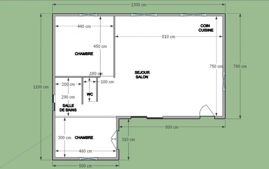 Plan  maison en 2D avec toutes les côtes