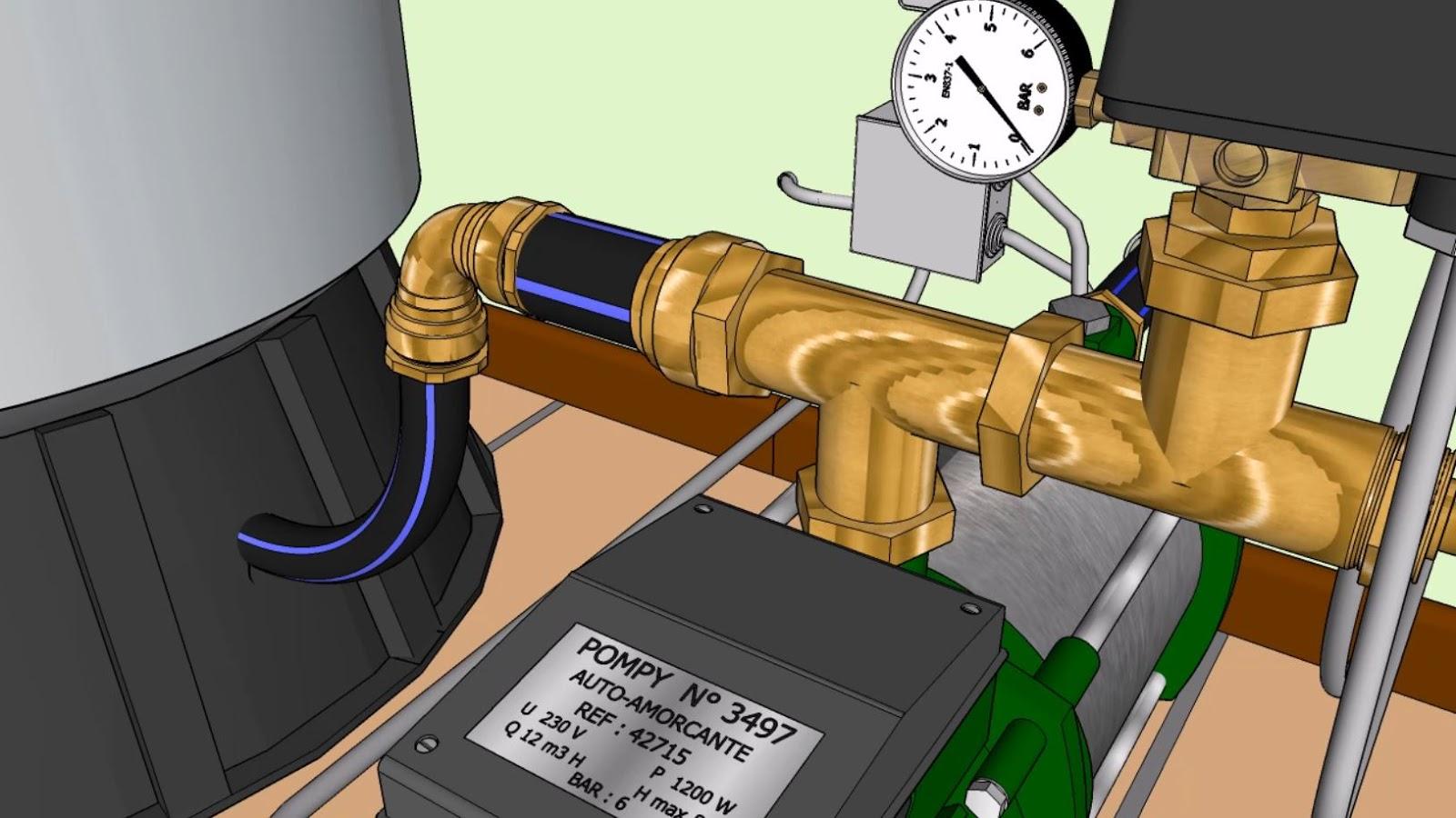 Raccord T branché sur le contacteur de pression