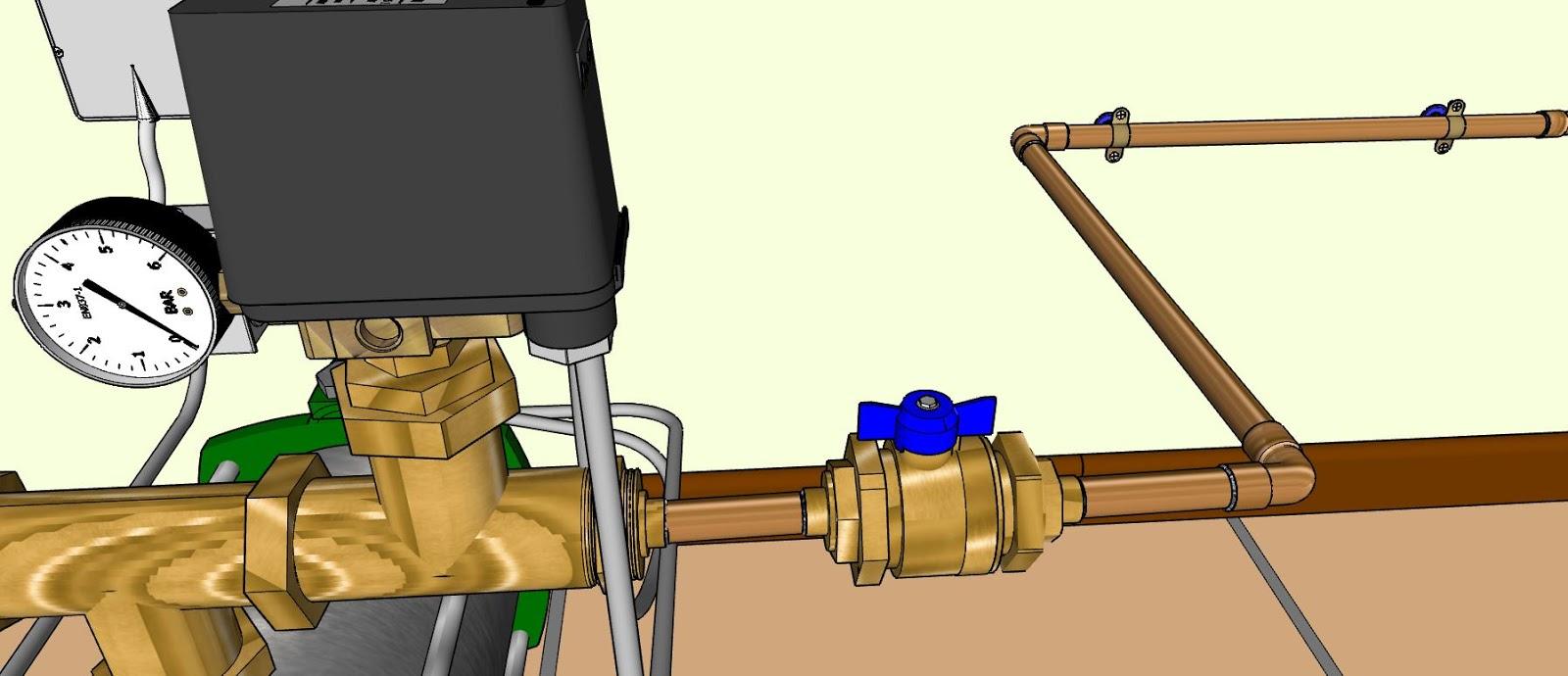 Tuyaux cuivre 16 mm et vanne quart de tour