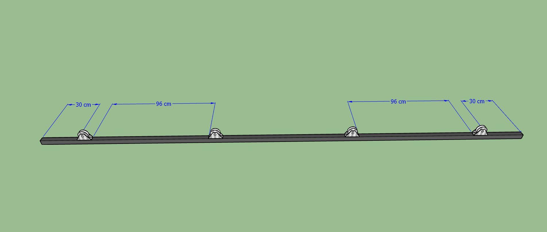 Traverse basse du vantail, position des roues à gorge