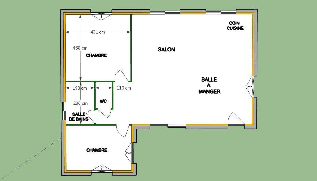 Plan 2D plus isolation et plaquage