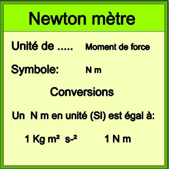 Informations Newton mètre