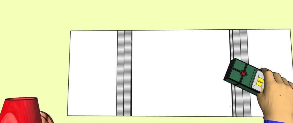 On peut marquer l'emplacement des montants métalliques
