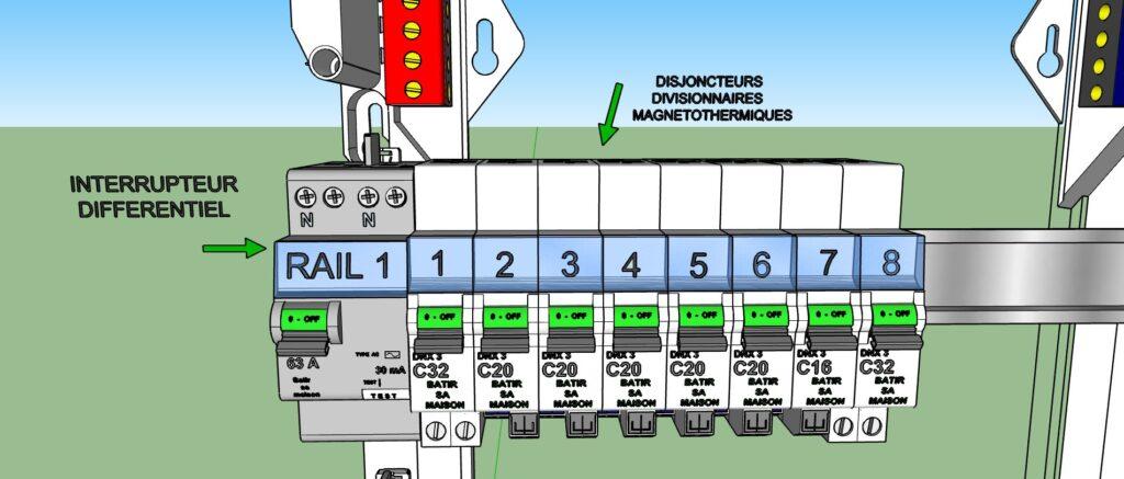 Schéma interrupteur différentiel protection 8 disjoncteurs divisionnaires