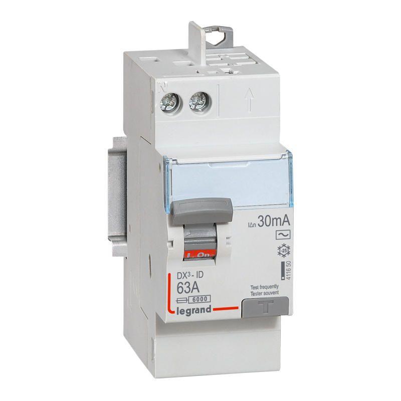 Interrupteur différentiel DX³-ID arrivée haut à vis et départ haut automatique - 2P 230V~ 63A type AC 30mA - 2 modules