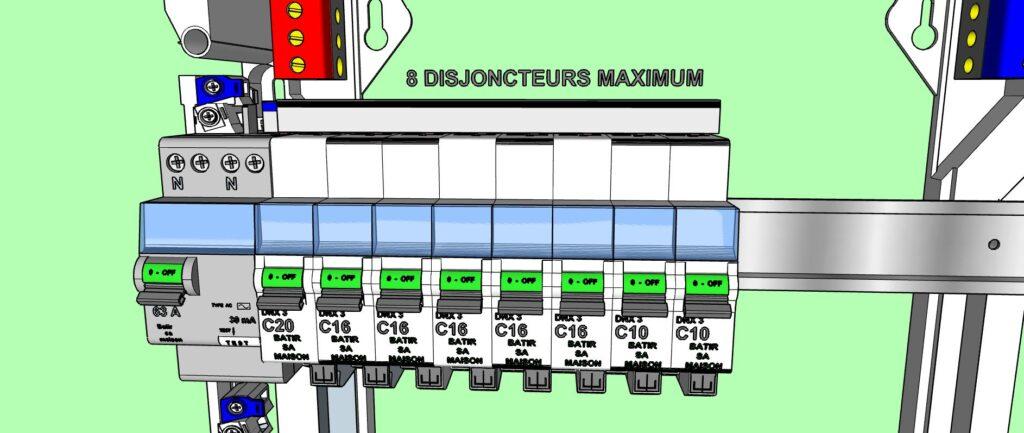 8 disjoncteurs divisionnaires au maximum