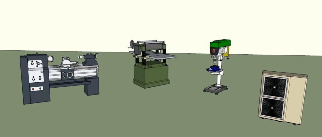 Machines outils d'un atelier