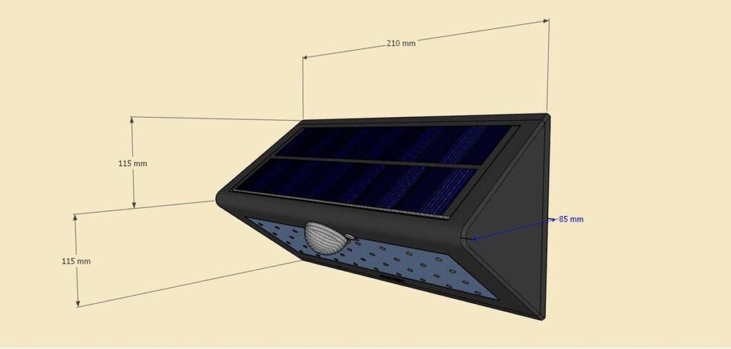 Dimensions de l'applique solaire