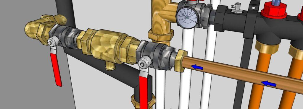 Arrivée eau pour adduction éventuelle dans le circuit