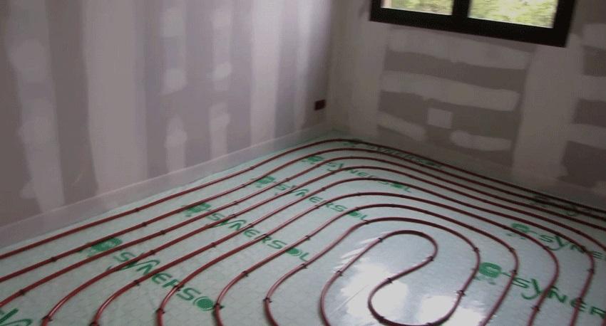 Installation du plancher chauffant dans le bureau