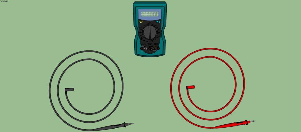 Multimètre numérique et ses 2 sondes de mesure